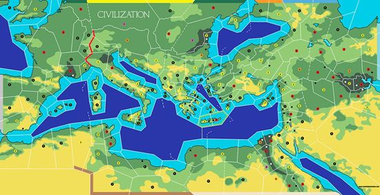 Camelot Games. Advanced Civilization ReEngineered Map on