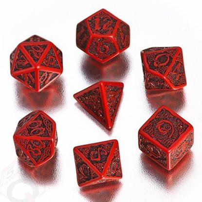 Picture of Celtic 3D Red-black dice, Set of 7