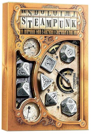 Picture of Metal-black Steampunk Dice, set of 7