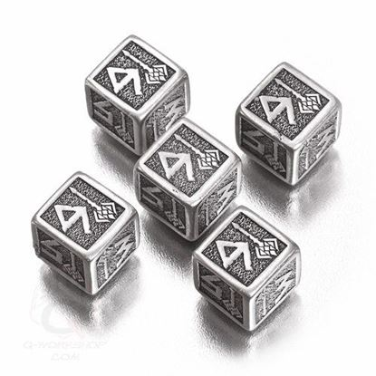 Picture of Metal-black Dwarven Dice set of 5 D6