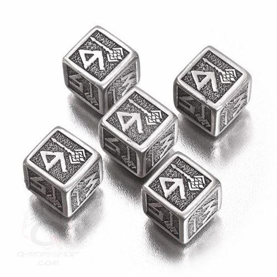 Picture of Metal-black Dwarven Dice set of 5 D6