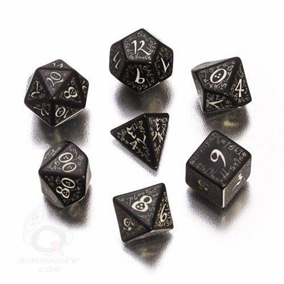 Picture of Elven black glow-in-the-dark dice, Set of 7