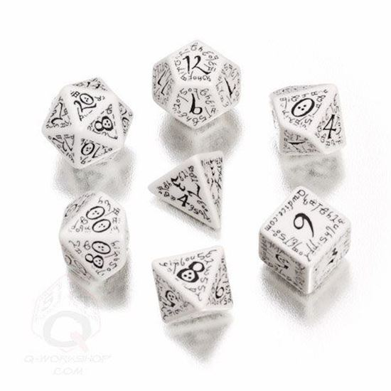 Picture of Elven white-black dice, Set of 7