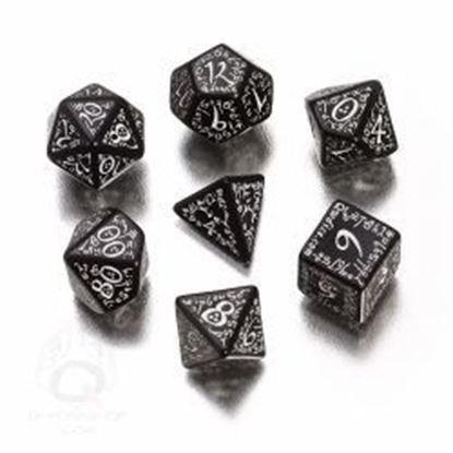 Picture of Elven black-white dice, Set of 7