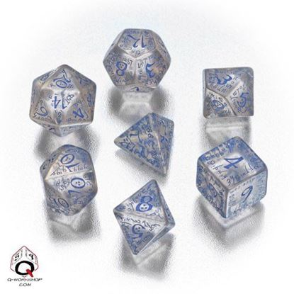 Picture of Elven transparent-blue dice, Set of 7