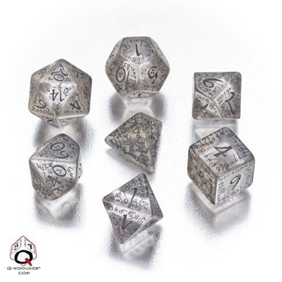 Picture of Elven transparent-black dice, Set of 7