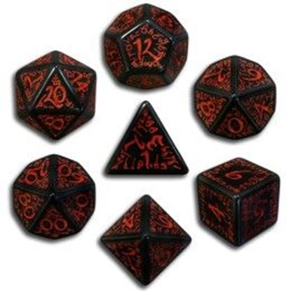 Picture of Elven black-red dice, Set of 7