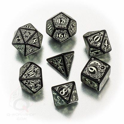 Picture of Steampunk black glow-in-the-dark dice, Set of 7