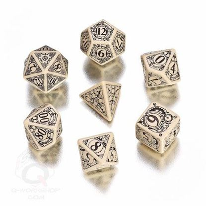 Picture of Steampunk Beige-black dice, Set of 7