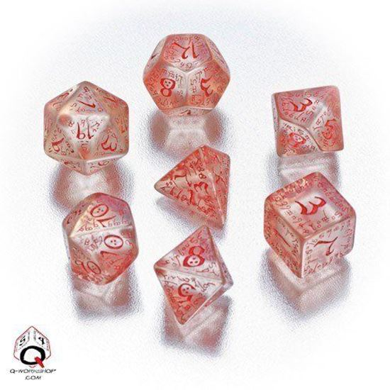 Picture of Elven transparent-red dice, Set of 7