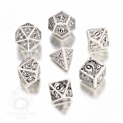 Picture of Steampunk white-black dice, Set of 7