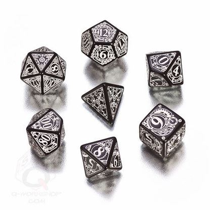 Picture of Steampunk black-white dice, Set of 7
