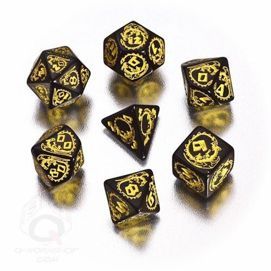 Picture of Dragons Black-yellow dice set, Set of 7