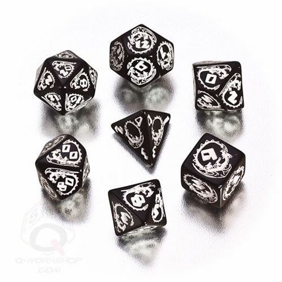Picture of Dragons Black-white dice set, Set of 7