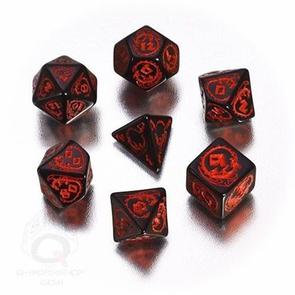 Picture of Dragons Black-red dice set, Set of 7