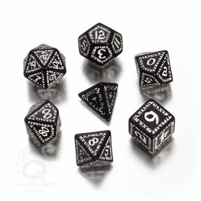 Picture of Runic Black-white Dice set, Set of 7