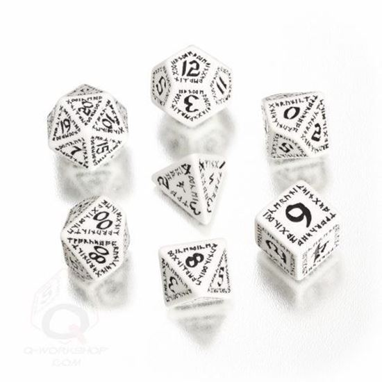 Picture of Runic White-black dice set, Set of 7