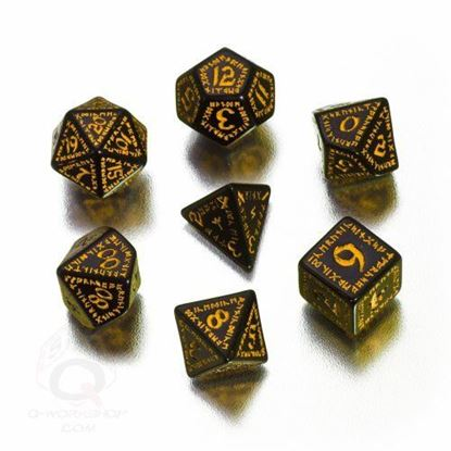 Picture of Runic Black-yellow Dice set, Set of 7
