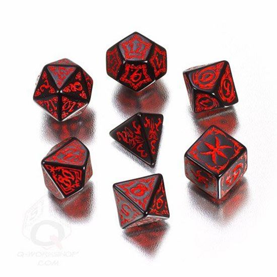 Picture of Tribal Black-red dice set, Set of 7