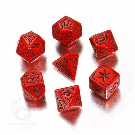 Picture of Tribal Red-black dice set, Set of 7