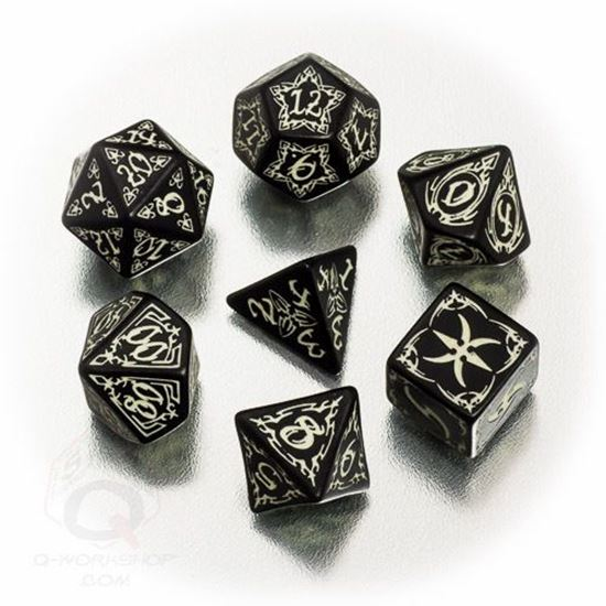 Picture of Tribal black glow-in-the-dark dice, Set of 7