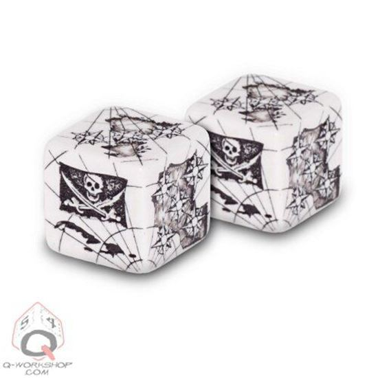 Picture of Pirate Dice Set White-black, Set of 2 d6