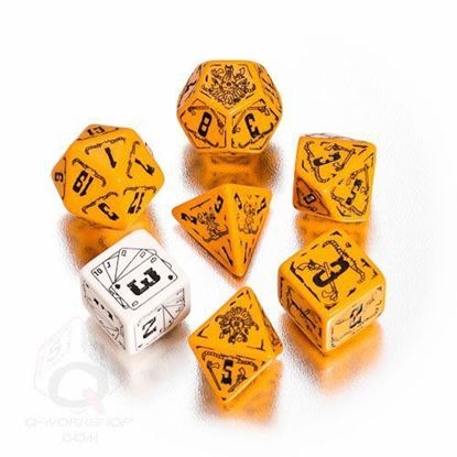 Picture of Orange-black Deadlands dice set, set of 7
