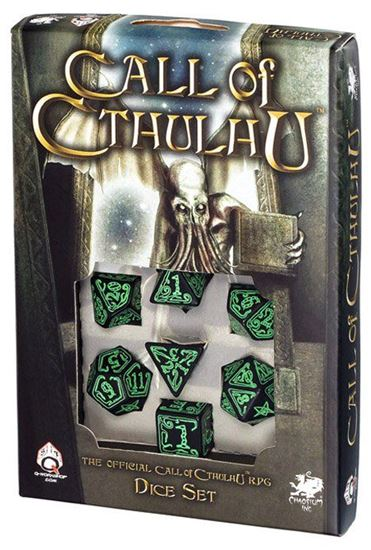 Picture of Call of Cthulhu Black-green dice set, Set of 7