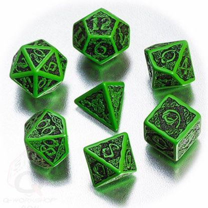 Picture of Celtic 3D Green-black  dice set, Set of 7