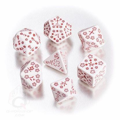Picture of Japanese white and red dice set, Set of 7