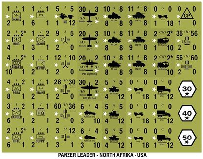 Picture of Panzer Leader Blitz Quarter Page of USA North Africa Counters